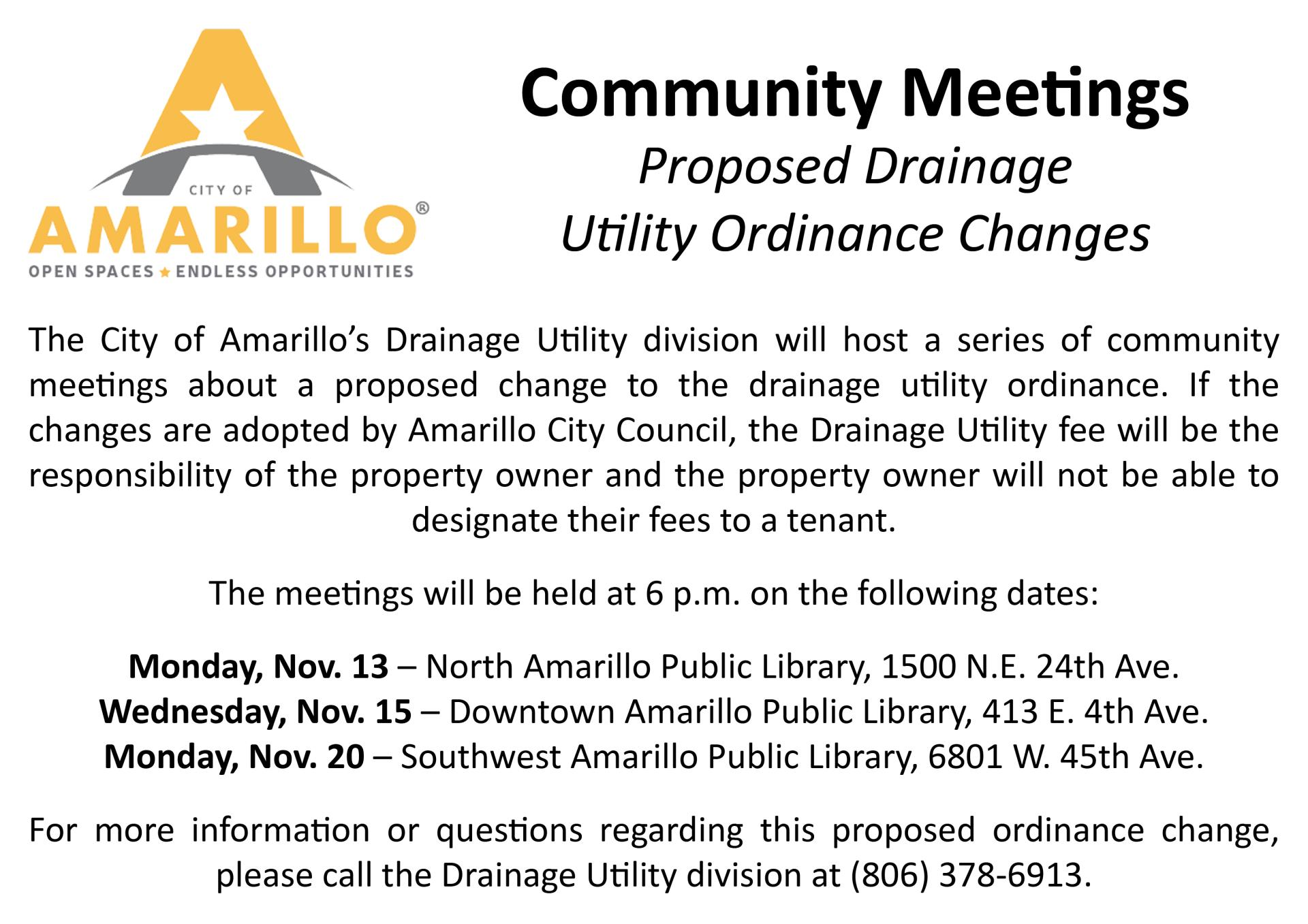 Public Meetings Scheduled for Proposed Drainage Utility Changes