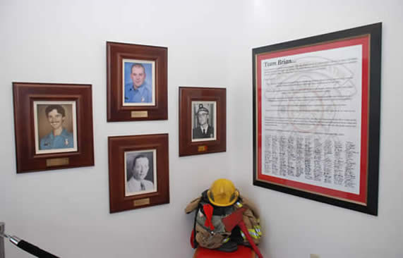 memorial wall at central fire station