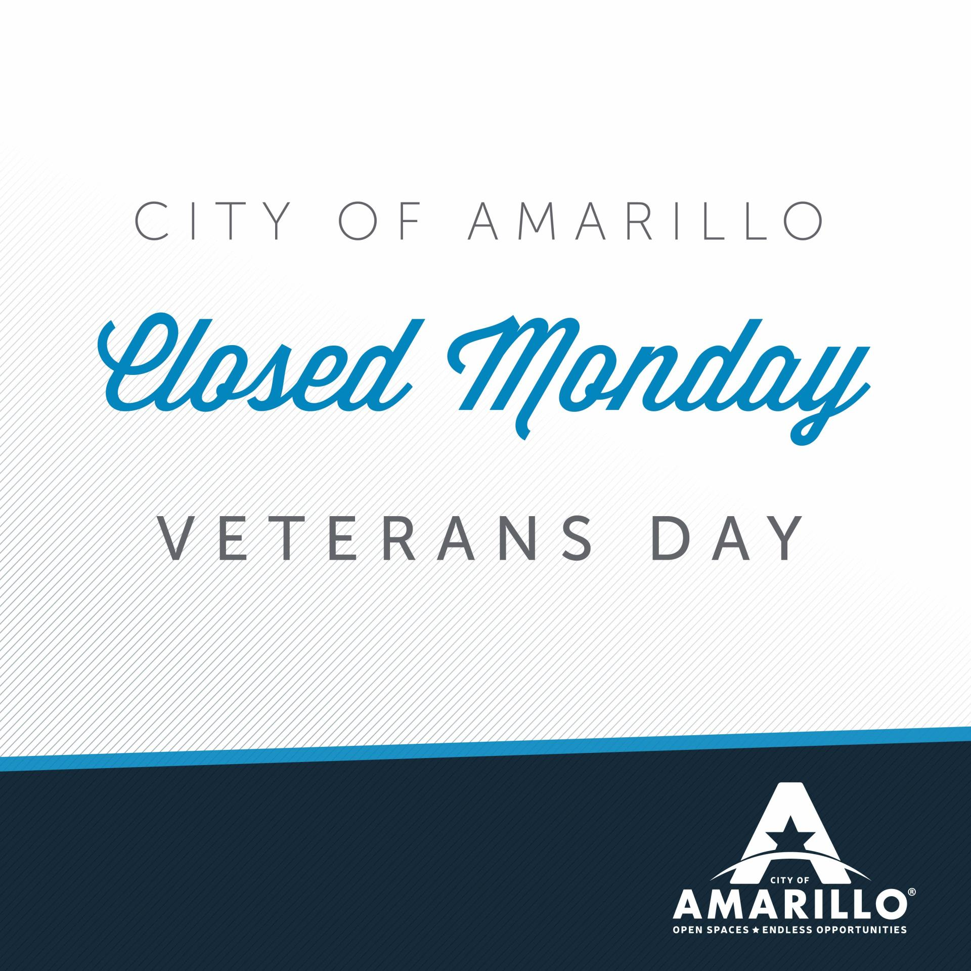 City Offices to Close Monday in Observance of Veterans Day